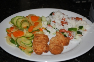 Dinner Photo-Chicken Nuggets-Zuccini-Rice