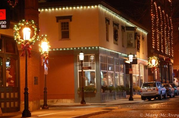 Cobblestoned Middle Street at Christmastime - Lowell, Massachusetts