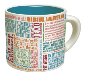 mug with first lines of novels