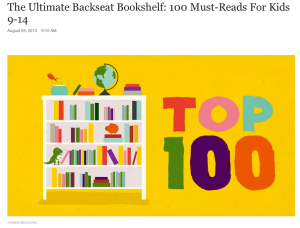 Click on this image to go to the NPR article - 100 books for ages 9-14