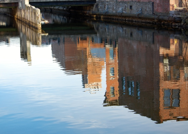 I love the reflection of this building in the canal water. To me, it could have been taken in almost any city in Europe. But it was taken in Lowell, Massachusetts, U.S.A.