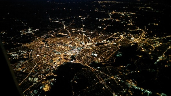 city view overhead night