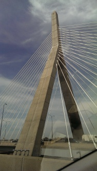 cables of the cable-stayed Zakim Bunker Hill Bridge in Boston