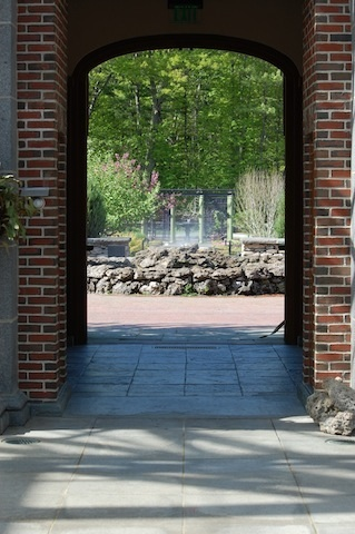 stone doorway to the Systematic Garden at Tower Hill Botanic Garden