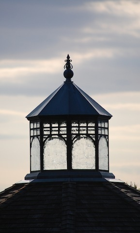 glass cupola at top of entry pavilion at Tower Hill Botanic Garden