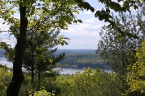 view of Wachusett reservoir from the summit at Tower Hill Botanic Garden
