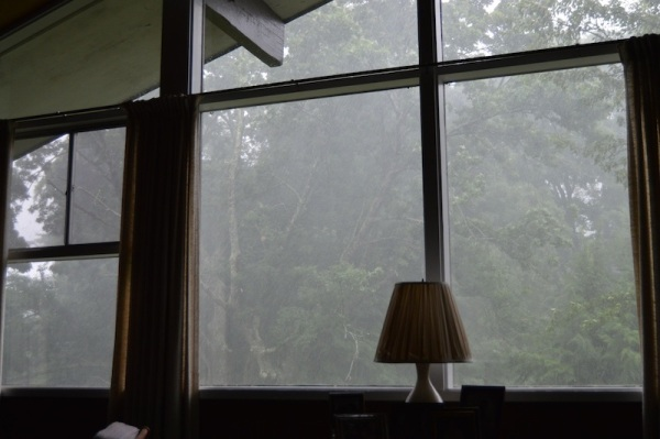 Every window view showed that the air was milky with heavy rain.