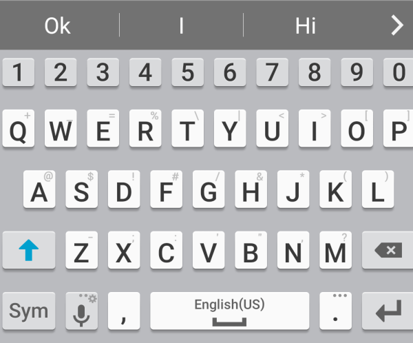 Samsung phone keyboard